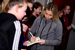 Sophie Baggaley of Bristol City and Poppy Pattinson of Bristol City meets the mascots and flag bearers prior to kick off  - Mandatory by-line: Ryan Hiscott/JMP - 17/02/2020 - FOOTBALL - Stoke Gifford Stadium - Bristol, England - Bristol City Women v Everton Women - Women's FA Cup fifth round