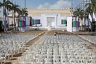 Cartagena de Indias, Bol&iacute;var, Colombia - 26.09.2016        <br /> <br /> Area where the peace contract will be signed. Day of the peace treaty between the FARC and the Colombian government will get signed in Cartagena. On 2nd October follows a peace referendum takes place about the end of the 52 years ongoing civil war between the marxist FARC-EP guerrilla and the government.<br /> <br /> Bereich wo der Friedensvertrag unterzeichnet wirdTag der Unterzeichnung des Friedensvertrags zwischen der FARC und der kolumbianische Regierung in Cartagena. Am 02. Oktober folgt eine Volksabstimmung &uuml;ber das Ende des seit 52 Jahren dauernden B&uuml;rgerkrieges zwischen der marxistischen FARC-EP Guerilla und der Regierung statt.<br /> <br /> Photo: Bjoern Kietzmann
