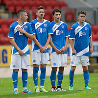 St Johnstone v Turriff Utd FC.. 02.08.16  IRN-BRU CUP 1st Round  <br />Lining up in a wall from left, Connor McLaren, Greg Hurst, Daniel Jardine and Paul Simpson<br />Picture by Graeme Hart.<br />Copyright Perthshire Picture Agency<br />Tel: 01738 623350  Mobile: 07990 594431