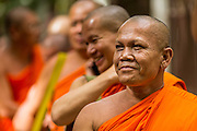 """12 JULY 2014 - PHRA PHUTTHABAT, SARABURI, THAILAND: Buddhist monks line up before the Tak Bat Dok Mai at Wat Phra Phutthabat in Saraburi province of Thailand. Wat Phra Phutthabat is famous for the way it marks the beginning of Vassa, the three-month annual retreat observed by Theravada monks and nuns. The temple is highly revered in Thailand because it houses a footstep of the Buddha. On the first day of Vassa (or Buddhist Lent) people come to the temple to """"make merit"""" and present the monks there with dancing lady ginger flowers, which only bloom in the weeks leading up Vassa. They also present monks with candles and wash their feet. During Vassa, monks and nuns remain inside monasteries and temple grounds, devoting their time to intensive meditation and study. Laypeople support the monks by bringing food, candles and other offerings to temples. Laypeople also often observe Vassa by giving up something, such as smoking or eating meat. For this reason, westerners sometimes call Vassa """"Buddhist Lent.""""    PHOTO BY JACK KURTZ"""
