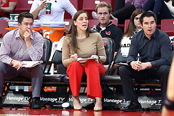 18 November 2016:  Melissa Myers and assistant coaches Eric Plunkett (right) and Peter Netisingha (left) during an NCAA women's volleyball match between the Northern Iowa Panthers and the Illinois State Redbirds at Redbird Arena in Normal IL (Photo by Alan Look)