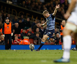 Cardiff Blues' Gareth Anscombe kicks a penalty<br /> <br /> Photographer Simon King/Replay Images<br /> <br /> Guinness PRO14 Round 21 - Cardiff Blues v Ospreys - Saturday 28th April 2018 - Principality Stadium - Cardiff<br /> <br /> World Copyright © Replay Images . All rights reserved. info@replayimages.co.uk - http://replayimages.co.uk