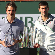 March 16, 2014 Indian Wells, California. Roger Federer and Novak Djokovic play in the men's final of the 2014 BNP Paribas Open. (Photo by Billie Weiss/BNP Paribas Open)