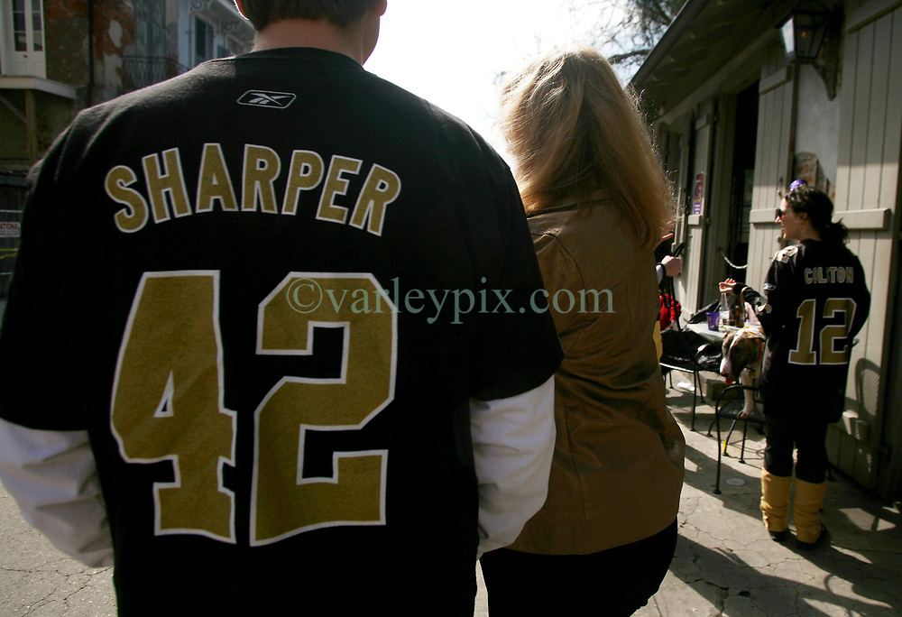 07 February 2010. New Orleans, Louisiana, USA. <br /> Super Bowl XL1V. New Orleans Saints fans gather in the French Quarter in anticipation of the big game in Miami later in the day as the home team goes head to head with the Indianapolis Colts for Super Bowl 44. <br /> Photo &copy;; Charlie Varley/varleypix.com
