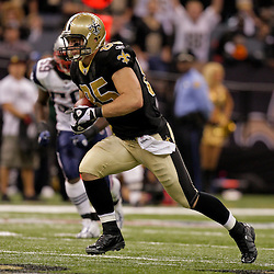 2009 November 30: New Orleans Saints tight end David Thomas (85) runs after a catch during a 38-17 win by the New Orleans Saints over the New England Patriots at the Louisiana Superdome in New Orleans, Louisiana.