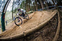 Manon Carpenter in her first qualification run for the 2015 season of the  UCI Mountainbike World Cup at Lourdes.