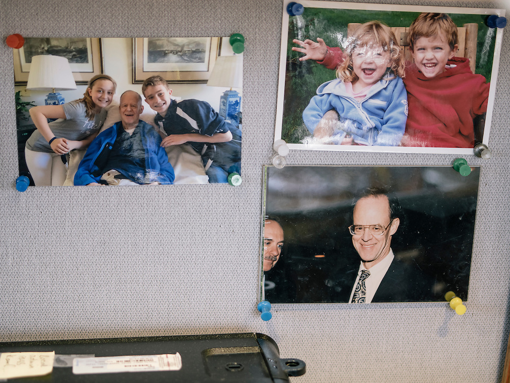Photos, including her late husband, John Rehm, on the wall of Diane Rehm's office in Washington, D.C.