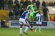 Forest Green Rovers Christian Doidge(9) heads the ball during the FA Trophy 2nd round match between Chester FC and Forest Green Rovers at the Deva Stadium, Chester, United Kingdom on 14 January 2017. Photo by Shane Healey.