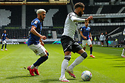 Duane Holmes of Derby County  in action during the EFL Sky Bet Championship match between Derby County and Brentford at the Pride Park, Derby, England on 11 July 2020.