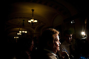 Senator JIM WEBB (D-VA) speaks to the media after voting on the compromise bill to raise the nation's debt ceiling. The Senate voted 74 to 26 to pass the measure that raises the debt ceiling and reduces the deficit by $2.4 trillion.  The bill will be sent to the White House where President Obama is expected to sign it.
