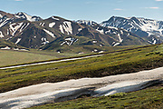 Patches of snow on the tundra at Savage River in Denali National Park Alaska. Denali National Park and Preserve encompasses 6 million acres of Alaska's interior wilderness.