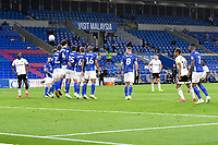Football - 2019 / 2020 Championship - Play-off semi-final - 1st leg - Cardiff City vs Fulham<br /> <br /> Neeskens Kebano of Fulham scores his team's second goal over the wall from a free kick <br /> in a match played with no crowd due to Covid 19 coronavirus emergency regulations, in an almost empty ground, at the Cardiff City Stadium<br /> <br /> COLORSPORT/WINSTON BYNORTH