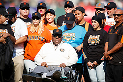 SAN FRANCISCO, CA - AUGUST 21: Former player Willie McCovey of the San Francisco Giants looks on during a ceremony honoring the Junior Giants before the game against the New York Mets at AT&T Park on August 21, 2016 in San Francisco, California.  The New York Mets defeated the San Francisco Giants 2-0. (Photo by Jason O. Watson/Getty Images) *** Local Caption *** Willie McCovey
