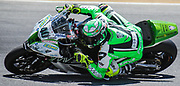 Jul 18 2015 Salinas, CA U.S.A. # 40 Roman Ramos goes for broke tries to improve his track time during the superpole 1 & 2 eni FIM Superbike World Championship Laguna Sega Salinas, CA  Thurman James / CSM