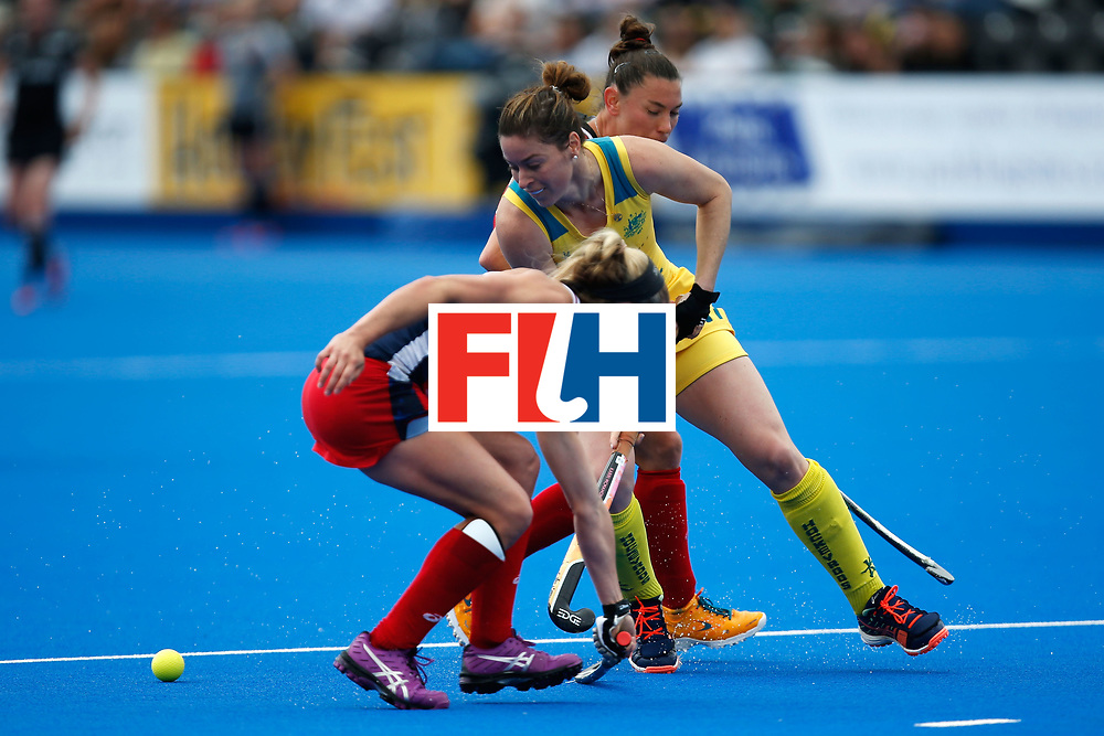 LONDON, ENGLAND - JUNE 18:  Karri McMahon of Australia carries the ball during the FIH Women's Hockey Champions Trophy 2016 match between United States and Australia at Queen Elizabeth Olympic Park on June 18, 2016 in London, England.  (Photo by Joel Ford/Getty Images)