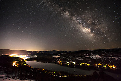 """Milky Way Above Donner Lake 1"" - Night time photograph of the Milky Way above Donner Lake and Truckee, California."