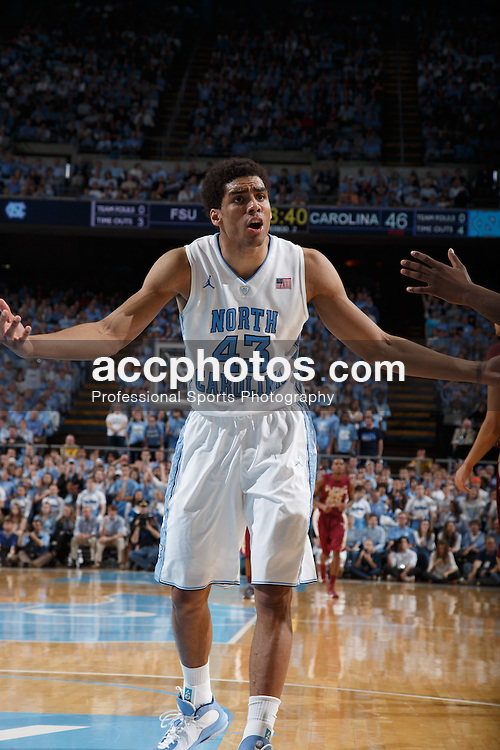 CHAPEL HILL, NC - MARCH 03: James Michael McAdoo #43 of the North Carolina Tar Heels disputes a foul not being called with a referee (not picture) during a game against the Florida State Seminoles on March 03, 2013 at the Dean E. Smith Center in Chapel Hill, North Carolina. North Carolina won 58-79. (Photo by Peyton Williams/UNC/Getty Images) *** Local Caption *** James Michael McAdoo
