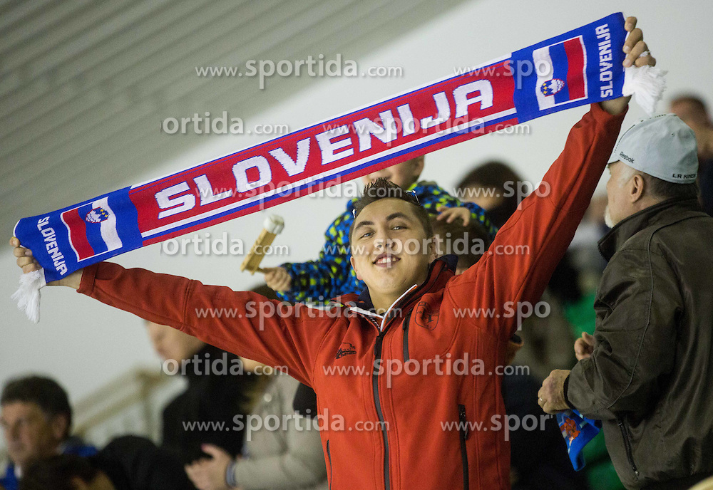 Supporters of Slovenia celebrate after scoring during ice-hockey friendly match between National teams of Slovenia and Austria, on April 19, 2015 in Hala Tivoli, Ljubljana, Slovenia. Photo by Vid Ponikvar / Sportida