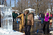 Wurtsboro, New York - Ice carvers work on their sculptures during a contest at the Winterfest on Feb. 8, 2014. The festival is sponsored and organized by the Wurtsboro Board of Trade.