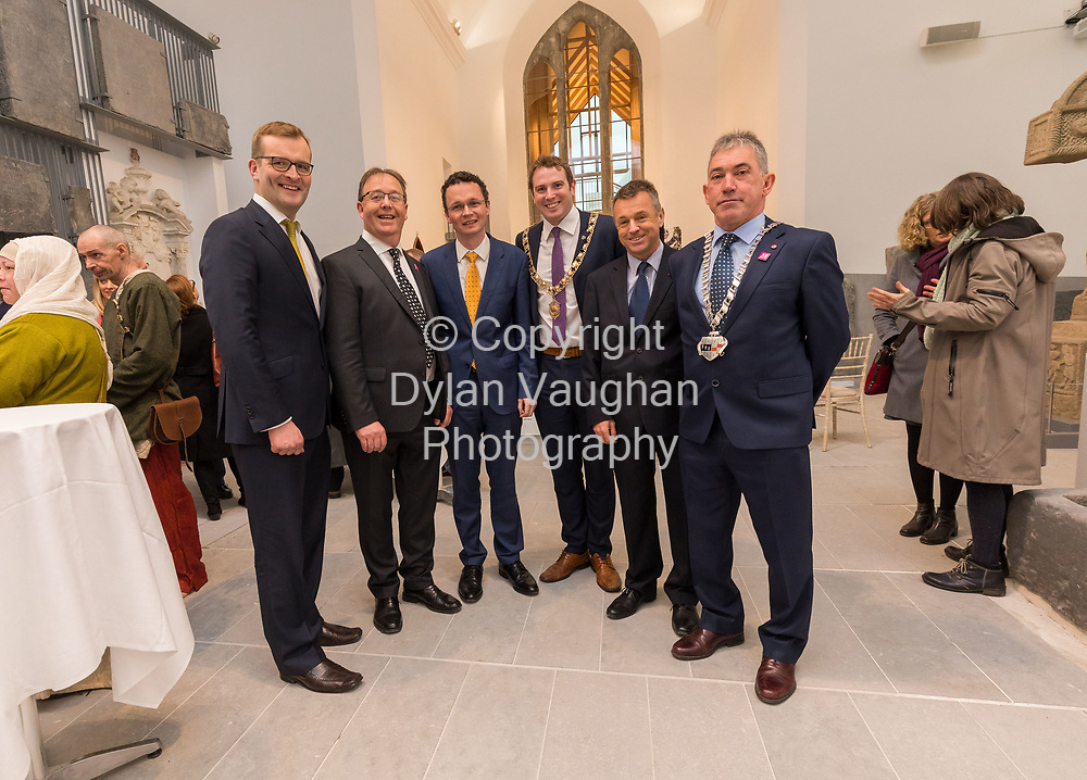 Repro Free no charge for use<br /> <br /> 4-4-17<br /> <br /> Official opening of Kilkenny&rsquo;s Medieval Mile Museum<br />  <br /> Today, Tuesday April 4th  at 12.15pm, Patrick O Donovan, Minister for Tourism and Sport officially opened Kilkenny&rsquo;s Medieval Mile Museum by cutting a ribbon at the door of the former St Mary&rsquo;s Church (St Mary&rsquo;s Lane, Kilkenny). The Medieval Mile Museum, commissioned by Kilkenny County Council, represents an investment of &euro;6.5 million, with significant assistance from Failte Ireland&rsquo;s Capital Programme and additional funding from Kilkenny Civic Trust. <br /> <br /> Pictured at the opening is John Paul Phelan TD, Brian Tyrrell Senior Executive Officer Kilkenny County Council, Patrick O Donovan, Minister for Tourism and Sport, Cllr Patrick O'Neill Mayor of Kilkenny, Ciaran Conroy CEO Kilkenny Civic Trust and Cllr. Matt Doran Chairman of Kilkenny County Council.<br /> <br /> Picture Dylan Vaughan.