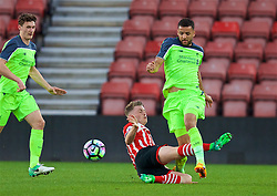 SOUTHAMPTON, ENGLAND - Monday, April 10, 2017: Liverpool's Kevin Stewart in action against Southampton's Callum Slattery during FA Premier League 2 Division 1 Under-23 match at St.Mary's Stadium. (Pic by David Rawcliffe/Propaganda)