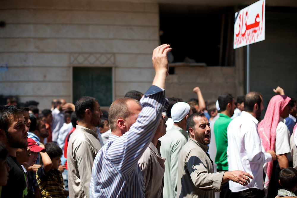 August 17, 2012 - Marea, Aleppo, Syria: Local people demonstrate, after Friday pray, against Bashar Al-Assad's regime in the village of Marea, in northern of Aleppo. (Paulo Nunes dos Santos/Polaris)