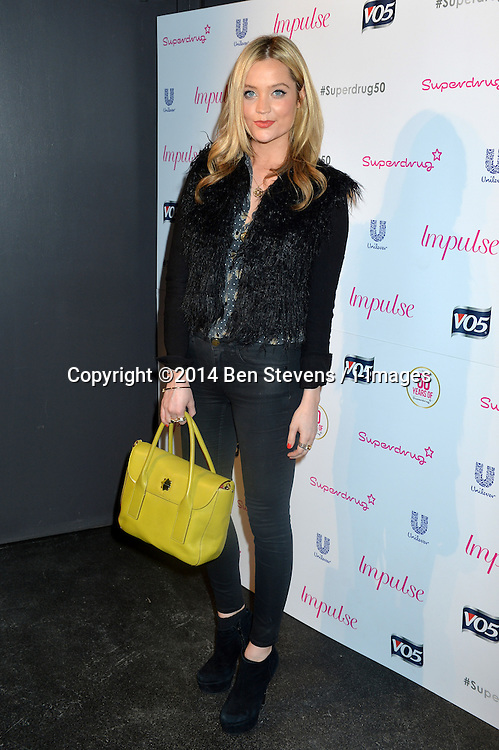 Image ©Licensed to i-Images Picture Agency. 10/06/2014.<br /> <br /> Pictured is Laura Whitmore arriving at the party.<br /> <br /> Superdrug 50th Anniversary Party at The Bankside Vaults, Southbank, London, UK.<br /> <br /> Tuesday 10th of June 2014<br /> Picture by Ben Stevens / i-Images