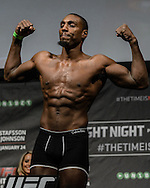 "STOCKHOLM, SWEDEN, JANUARY 23, 2015: Phil Davis poses on the scales during the official weigh in for ""UFC on Fox 14: Gustafsson vs. Johnson"" inside Hovet Arena in Stockholm, Sweden"