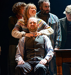 Edinburgh, Scotland, UK. 13 March, 2019.  Photo call of World Premiere of Local Hero stage adaptation at Royal Lyceum Theatre in Edinburgh. Musical adaptation written by Bill Forsyth and David Grieg with new music by Mark Knopfler, directed by John Crowley. Pictured; Matthew Pidgeon as Gordon and  Joanne McGuiness - Editorial Use Only
