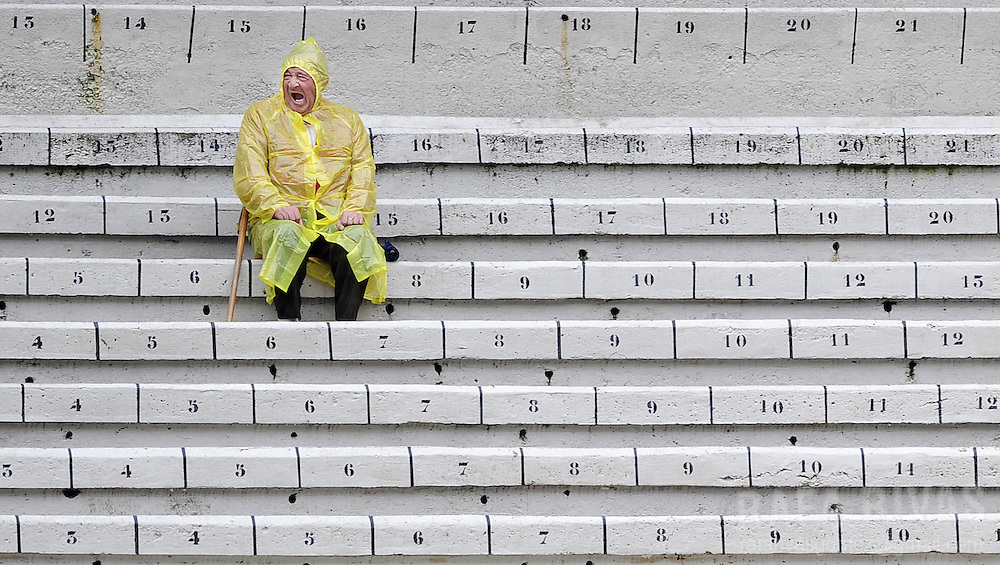 A man waits at the bull-ring of Pamplona prior to attend the sixth corrida of the San Fermin festivities, on July 12, 2008, in Pamplona, north of Spain.