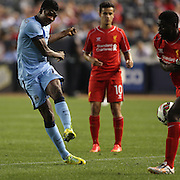 Kelechi Iheanacho, Manchester City, shoots during the Manchester City Vs Liverpool FC Guinness International Champions Cup match at Yankee Stadium, The Bronx, New York, USA. 30th July 2014. Photo Tim Clayton