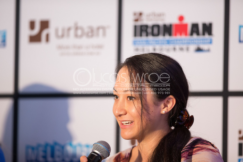 Natasha Ching (First Time Ironman Athlete). Ironman Melbourne Triathlon Press Launch 2013. Etihad Stadium, Melbourne, Victoria, Australia. 25/02/2013. Photo By Lucas Wroe