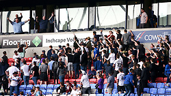 Bolton Wanderers fans in the stands chant towards Wolverhampton Wanderers fans in an executive box after the Sky Bet Championship match at the Macron Stadium, Bolton.