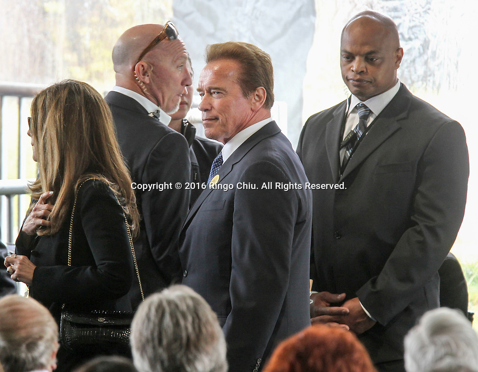 Former gov. Arnold Schwarzenegger arrival during a funeral service for the former first lady Nancy Reagan at the Ronald Reagan Presidential Library and Museum in Simi Valley, California on March 11, 2016. Reagan died of congestive heart failure in her sleep at her Bel Air home Sunday at age 94. A bout 1,000 guests from the world of politics attended the final farewell to Nancy Reagan as the former first lady is eulogized and laid to rest next to her husband at his presidential library.<br />    (Photo by Ringo Chiu/PHOTOFORMULA.com)<br /> <br /> Usage Notes: This content is intended for editorial use only. For other uses, additional clearances may be required.