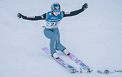 15.02.2020, Kulm, Bad Mitterndorf, AUT, FIS Ski Flug Weltcup, Kulm, Herren, im Bild Jakub Wolny (POL) // Jakub Wolny of Poland during his Jump for the men's FIS Ski Flying World Cup at the Kulm in Bad Mitterndorf, Austria on 2020/02/15. EXPA Pictures © 2020, PhotoCredit: EXPA/ Dominik Angerer