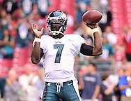 Sept. 23, 2012; Glendale, AZ, USA; Philadelphia Eagles quarterback Michael Vick (7) warms up on the field prior to the game against the Arizona Cardinals at University of Phoenix Stadium. Mandatory Credit: Jennifer Stewart-US PRESSWIRE.