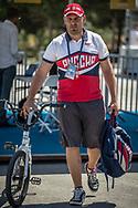 Pavel Kostyukov (Team Russia) arriving on race day at the 2018 UCI BMX World Championships in Baku, Azerbaijan.