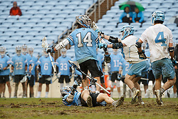 CHAPEL HILL, NC - FEBRUARY 23: Cole Williams #14 of the Johns Hopkins Blue Jays during a game against the North Carolina Tar Heels on February 23, 2019 at Kenan Stadium in Chapel Hill, North Carolina. Hopkins won 11-10. (Photo by Peyton Williams/US Lacrosse)