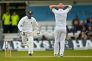 Sri Lanka Captain Angelo Mathews gets runs off England & Durham All-rounder Ben Stokes  during day 2 of the first Investec Test Series 2016 match between England and Sri Lanka at Headingley Stadium, Headingley, United Kingdom on 20 May 2016. Photo by Simon Davies.