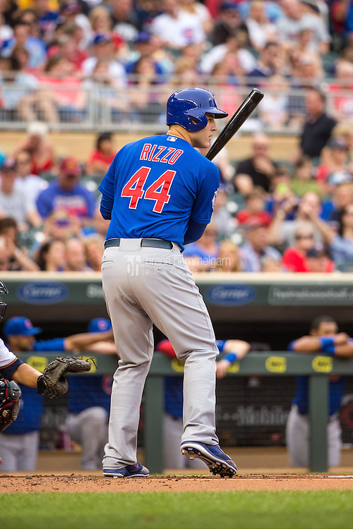 MINNEAPOLIS, MN- JUNE 19: Anthony Rizzo #44 of the Chicago Cubs bats against the Minnesota Twins on June 19, 2015 at Target Field in Minneapolis, Minnesota. The Twins defeated the Cubs 7-2. (Photo by Brace Hemmelgarn) *** Local Caption *** Anthony Rizzo
