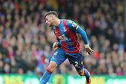 Crystal Palace defender Joel Ward  heads the ball back  during the Barclays Premier League match between Crystal Palace and Liverpool at Selhurst Park, London, England on 6 March 2016. Photo by Simon Davies.