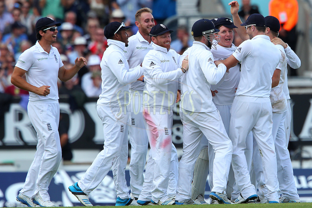 Gary Ballance of England celebrates the wicket of Ajinkya Rahane of India during day three of the fifth Investec Test Match between England and India held at The Kia Oval cricket ground in London, England on the 17th August 2014<br /> <br /> Photo by Ron Gaunt / SPORTZPICS/ BCCI