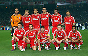 Liverpool Team Group 2006/07.(Back Row Left to Right) Pepe Reina / Dirk Kuyt / Xabi Alonso / Daniel Agger / Jamie Carragher / Javier Mascherano.(Front Row Left to Right) Steve Finnan / Boudewijn Zenden / Steven Gerrard / John Arne Riise / Jermaine Pennant.AC Milan V Liverpool (2-1) 23/05/07 .The UEFA Champions League Final .at the Olympic Stadium in Athens.