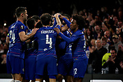 Chelsea players celebrate Chelsea FC midfielder Ruben Loftus-Cheek (12) 1st goal 1-0 Chelsea during the Europa League group stage match between Chelsea and BATE Borisov at Stamford Bridge, London, England on 25 October 2018.