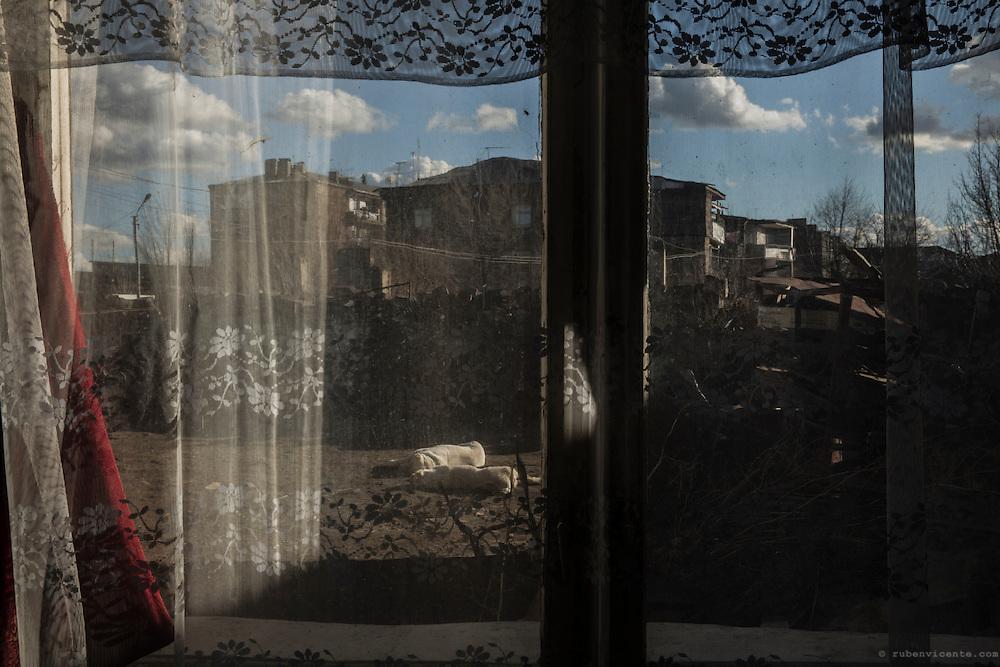 A neighborhood of Gyumri seen from one of its houses' windows. Armenia