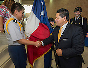 Superintendent Richard Carranza is greeted by a JROTC member during a stop of his Listen & Learn Tour of the district at Chavez High School, September 15, 2016.