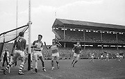 Offaly Goalie M. Furlong watches as ball goes over the bar at the All Ireland Minor Gaelic Football final Cork V. Offaly in Croke Park on 27th September 1964.