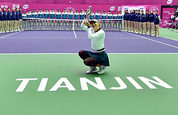 TIANJIN, Oct. 15, 2017  Maria Sharapova of Russia poses with the trophy after the women's singles final match against Aryna Sabalenka of Belarus at the 2017 WTA Tianjin Open tennis tournament in north China's Tianjin Municipality, Oct. 15, 2017. Maria Sharapova won 2-0 to claim the title. (Credit Image: © Yue Yuewei/Xinhua via ZUMA Wire)