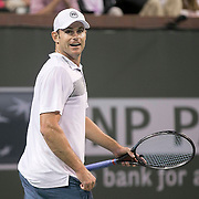 March 7, 2015, Indian Wells, California:<br /> Andy Roddick plays during the McEnroe Challenge for Charity presented by Masimo in Stadium 2 at the Indian Wells Tennis Garden in Indian Wells, California Saturday, March 7, 2015.<br /> (Photo by Billie Weiss/BNP Paribas Open)