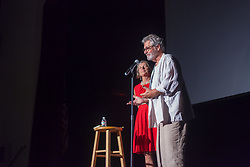 Steve thanks his wife and associate producer Leslie Rockstein as he introduces the film.  VI filmmaker Steve Rockstein debuts his full length feature film Sand on the Floor, a story about the Jewish community in St. Thomas.  Prior-Jollek Hall.  Antilles School.  3 March 2018.  © Aisha-Zakiya Boyd